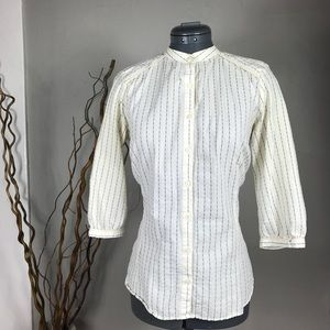 Zara Striped Band Mandarin Collar Lace Button Top
